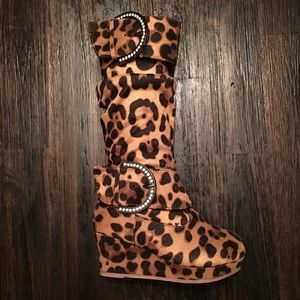 Brand New Leopard Slouch Boot Girls Toddler Sz 9